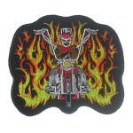 Iron On Patch Applique - Biker Patch Skeleton Rider Large