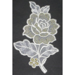 Iron On Patch Applique - Rose White & Metallic Gold R