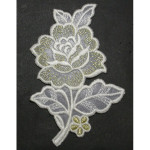 Iron On Patch Applique - Rose White & Metallic Gold L
