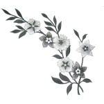 Iron On Patch Applique - Floral Spray Large Black White Silver Left