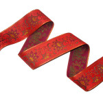 "Jacquard Ribbon 2 1/8"" Red & Metallic Gold Floral"