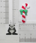 Iron On Patch Applique - Candy Cane with Green Bow