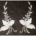 Iron On Patch Applique - Floral Spray Appliques White Silver L&R Pair