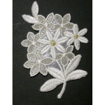Iron On Patch Applique - Floral Spray Off White & Metallic Gold