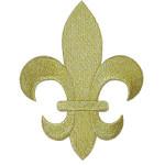 "Iron On Patch Applique - Fleur De Lys Metallic Gold 5 7/8"" tall"