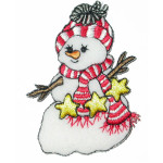Iron On Patch Applique - Snowman Red White Scarf