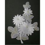 Iron On Applique - Floral Spray White & Gold