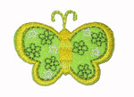 "Iron On Patch Applique - Butterfly 1 9/16"" Flower Wings GREEN"
