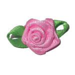 Mini Satin Ribbon Roses Bud Green Leaf GERANIUM 25 Pack