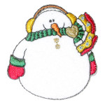 Iron On Patch Applique - Snowman with Ear Warmers