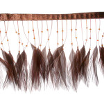 """Feather Beaded Fringe 4"""" Brown Conso 6 Yards"""