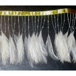 """Feather Beaded Fringe 4"""" Ivory Conso 6 Yards"""