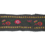 """Embroidered Trim 3"""" Black with Beaded Rose Per Yard"""