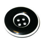 "Button 1 1/4"" Flat Black & White 4 Hole Per Each"