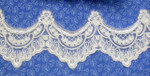 """Bridal Sheer 3 5/8"""" (92mm) Off White Corded & Embroidered Priced Per Yard"""