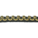 "Braid 7/16"" Black & Gold Metallic with Beads 10 Yards"