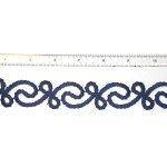 "Iron On Patch Applique - Decorative Strip Rope Swirl Blue 12"" & up"