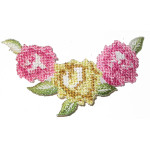 Iron On Patch Applique - Floral Spray Cross Stitch Style
