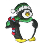 Iron On Patch Applique - Christmas Penguin Bobble Hat