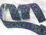 "Jacquard Ribbon 1 5/8"" Purple Turquoise & Silver Priced Per Yard"