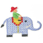 Iron On Patch Applique - Elephant Cross Stitch Style