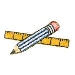 Iron On Patch Applique - Pencil & Ruler