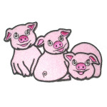 Iron On Patch Applique - Three Little Pigs