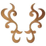 Iron On Patch Applique - Swirl Pair Left & Right Copper
