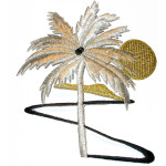 Iron On Patch Applique - Palm Tree Scene Metallic