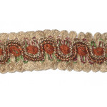 "Braid 1"" Fancy Beige Rust & Green Per Yard"