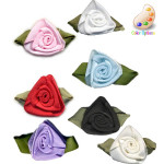Flat Ribbon Roses with Leaf *Colors* 24 Pack