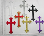 "Iron On Patch Applique - Latin Cross 4 3/4"" x 2 7/8"" (121mm x 73mm)"