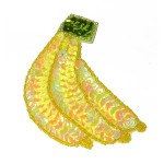 Sequin Applique Banana with Badge Pin Back