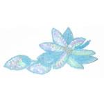 Iron On Sequin Applique - Blue Flower Spray