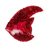 Beaded Applique  Red Angel Fish