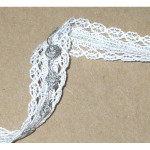 """Lace with Braid 11/16"""" White & Silver Priced Per Yard"""