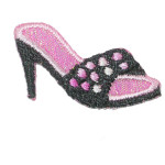 Iron On Patch Applique Sandal Black and Pink