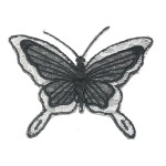 Iron On Patch Applique Butterfly Layered Wings Black