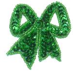 Sequin Applique - Bow Emerald