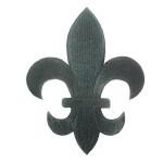"""Iron On Patch Applique - Fleur De Lis Black  5 7/8"""" tall"""