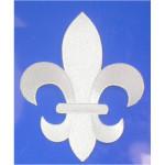 """Iron On Patch Applique - Fleur De Lis White  5 7/8"""" tall"""