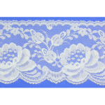 "Flat Lace 4"" Floral Light Blue 150 Yard Roll"