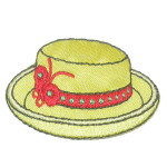 Iron On Patch Applique - Ladies Hat Yellow