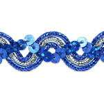 "Sequin Metalic Braid 5/8"" Royal Blue & Silver 5 Yards"