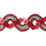 "Sequin Metalic Braid 5/8"" Red & Silver 5 Yards"