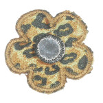 Iron On Patch Applique - Animal Print Flower with Mirror 9421