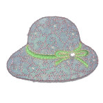 Iron On Patch Applique - Hat Green Ribbon