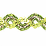 "Sequin Metalic Braid 5/8"" Lime & Silver 5 Yards"