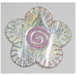 Iron On Patch Applique - 1 1/2 Holographic Silver Daisy