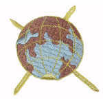 Iron On Patch Applique - Planet Earth Brown